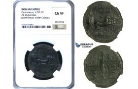 ZC12, Roman Empire, Germanicus (d. 19 AD) Æ Dupondius, Rome, 37-41 AD, Quadriga, NGC Ch VF