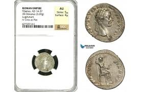 "ZC15, Roman Empire, Tiberius (14-37 AD) AR Denarius ""Tribute Penny"" (3.69g) Lugdunum (Lyon), 18-35 AD, Pax, NGC AU"