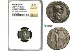 ZC16, Roman Empire, Claudius (41-54 AD) AR Denarius (3.68g) Rome, 46-47 AD, Pax-Nemesis, Rare! NGC Ch VF