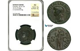 ZC17, Roman Empire, Claudius (41-54 AD) Æ AS (9.64g) Rome, 50-54 AD, Constantia, NGC AU