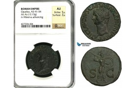 ZC18, Roman Empire, Claudius (41-54 AD) Æ As (12.13g) Rome, 50-54 AD, Minerva, NGC AU