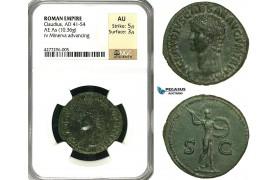 ZC19, Roman Empire, Claudius (41-54 AD) Æ As (10.36g) Rome, 50-54 AD, Minerva, NGC AU