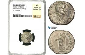 ZC22, Roman Empire, Galba (68-69 AD), AR Denarius (3.45g) Rome, Livia, Rare! NGC XF