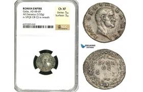 ZC23, Roman Empire, Galba (68-69 AD), AR Denarius (3.50g) Rome, SPQR, Rare! NGC Ch XF