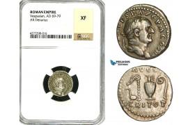 ZC27, Roman Empire, Vespasian  (69-79 AD), AR Denarius (3.21g) Rome, 72-73 AD, Sacrificial implements, Patina! NGC XF