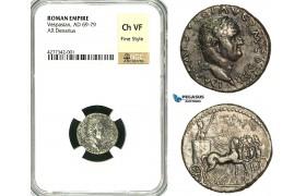 ZC28, Roman Empire, Vespasian  (69-79 AD), AR Denarius (3.20g) Antioch, 72-73 AD, Quadriga, NGC Ch VF, Fine Style