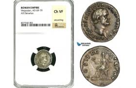 ZC29, Roman Empire, Vespasian (69-79 AD), AR Denarius (3.22g) Rome, 70 AD, Pax, NGC Ch VF