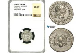 ZC30, Roman Empire, Divus Vespasian  (69-79 AD), AR Denarius (3.09g) Struck under Titus, Rome, 80-81 AD, Capricorns, NGC Ch VF
