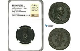 ZC33, Roman Empire, Vespasian (69-79 AD) Æ Dupondius (13.09g) Rome, 74 AD, Felicitas, Fantastic!  NGC AU★, Fine Style