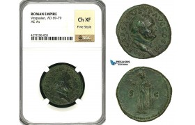 ZC34, Roman Empire, Vespasian (69-79 AD) Æ As (10.70g) Rome, 76 AD, Spes, NGC Ch XF, Fine Style