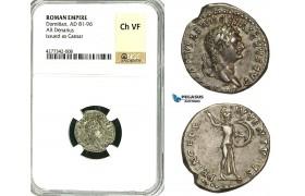 ZC37, Roman Empire, Domitian (81-96 AD), AR Denarius (3.40g) Rome, Struck under Titus, Rome, Minerva, NGC Ch VF