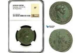 ZC38, Roman Empire, Domitian (81-96 AD) Æ Dupondius (10.07g) Rome, 90-91 AD, Virtus, NGC XF