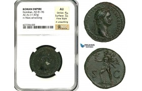 ZC39, Roman Empire, Domitian (81-96 AD) Æ As (11.87g) Rome, 85 AD, Mars, NGC AU, Fine Style