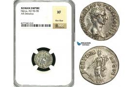 ZC41, Roman Empire, Nerva (96-98 AD), AR Denarius (3.44g) Rome, 96 AD, Fortuna, NGC XF