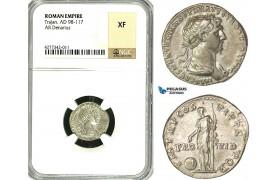 ZC42, Roman Empire, Trajan (98-117AD), AR Denarius (3.60g) Rome, 116 AD, Providentia, NGC XF