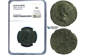 ZC47, Roman Empire, Trajan (98-117 AD) Æ Dupondius, Rome, 112-114 AD, Dacia, NGC AU, Fine Style