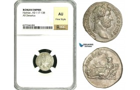 ZC51, Roman Empire, Hadrian (117-138 AD), AR Denarius (3.15g) Rome, 134-138 AD, NGC AU, Fine Style