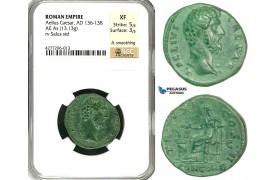 ZC57, Roman Empire, Aelius Caesar (136-138 AD) Æ As (13.13g) Rome, 137 AD, Salus/Concordia, NGC XF