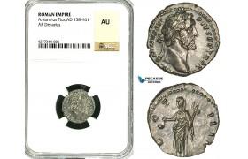 ZC61, Roman Empire, Antoninus Pius (138-161 AD), AR Denarius (3.03g) Rome, 151-152 AD, Vesta, NGC AU