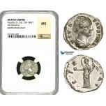 ZC62, Roman Empire, Diva Faustina (d. 140), AR Denarius (2.42g) Rome, Aeternitas, NGC MS