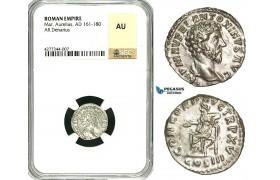 ZC63, Roman Empire, Marcus Aurelius (161-180 AD), AR Denarius (2.92g) Rome, 162-163 AD, Concordia, NGC AU