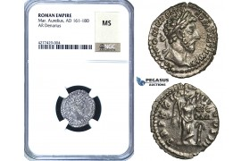 ZC66, Roman Empire, Marcus Aurelius (98-117 AD) AR Denarius, Rome, 166 AD, Victory, NGC MS