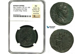ZC67, Roman Empire, Marcus Aurelius (161-180 AD) Æ Sestertius (25.70g) Rome, 174 AD, NGC AU, Fine Style