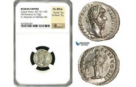 ZC68, Roman Empire, Lucius Verus (161-169 AD), AR Denarius (3.73g) Rome, 167 AD, Aequitas, NGC Ch MS★