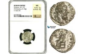 ZC70, Roman Empire, Pertinax (193 AD), AR Denarius (3.18g) Rome, 193 AD, Ops, NGC MS