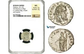 ZC71, Roman Empire, Pertinax (193 AD), AR Denarius (2.85g) Rome, 193 AD, Laetitia, NGC MS