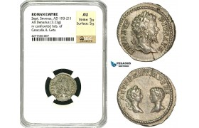 ZC72, Roman Empire, Septimius Severus (193-211 AD), AR Denarius (3.23g) Rome, 201 AD, Caracalla & Geta, NGC AU