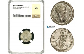 ZC73, Roman Empire, Septimius Severus (193-211 AD), AR Denarius (2.91g) Emesa, 194-195 AD, Fortuna, NGC MS