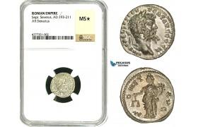 ZC74, Roman Empire, Septimius Severus (193-211 AD), AR Denarius (3.12g) Emesa, 194-195 AD, Moneta, NGC MS★