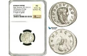 ZC77, Roman Empire, Divus Septimius Severus (d. 211 AD), AR Denarius (3.22g) Rome, 211 AD (under Caracalla) Eagle, NGC AU