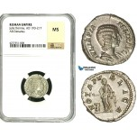 ZC78, Roman Empire, Julia Domna Augusta (193-217 AD), AR Denarius (3.42g)  Rome, (Under Caracalla and Geta), Altar, Very Rare! NGC MS