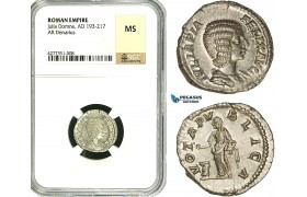 ZC78, Roman Empire, Julia Domna Augusta (193-217 AD), AR Denarius (3.42g)  Rome, (Under Caracalla and Geta), Altar, Very Rare! NGC MS