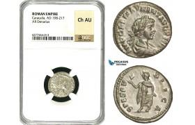 ZC79, Roman Empire, Caracalla (197-217 AD), AR Denarius (3.39g) Laodicea, 199 AD, Spes, NGC AU