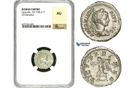 ZC80, Roman Empire, Caracalla (197-217 AD), AR Denarius (3.54g) Rome, 201-206 AD, Victory, NGC