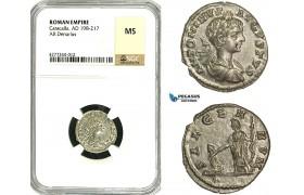 ZC82, Roman Empire, Caracalla (197-217 AD), AR Denarius (2.73g) Laodicea, 201 AD, Salus, NGC MS