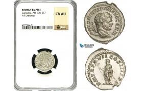 ZC83, Roman Empire, Caracalla (197-217 AD), AR Denarius (3.27g) Rome, Genius, NGC Ch AU