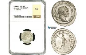 ZC84, Roman Empire, Caracalla (197-217 AD), AR Denarius (3.00g) Rome, 216 AD, Sol, NGC AU