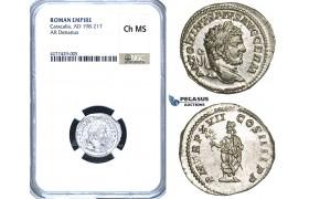 ZC85, Roman Empire, Caracalla (198-217 AD) AR Denarius, Rome, 214 AD, Genius, NGC Ch MS
