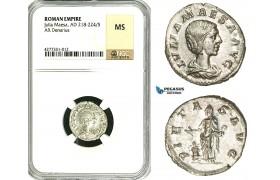 ZC91, Roman Empire, Julia Maesa Augusta (218-224 AD), AR Denarius (3.27g) Rome, Pietas, NGC MS