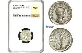 ZC92, Roman Empire, Julia Maesa Augusta (218-224 AD), AR Denarius (3.14g) Rome, Felicitas, NGC MS★