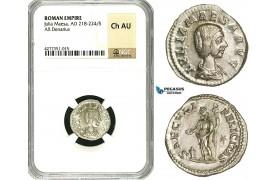 ZC94, Roman Empire, Julia Maesa Augusta (218-224 AD), AR Denarius (3.01g) Rome, 220-222 AD, Felicitas, NGC Ch AU