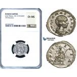 ZC95, Roman Empire, Julia Maesa Augusta (218-224 AD), AR Denarius, Rome, Pudicitia, NGC Ch MS