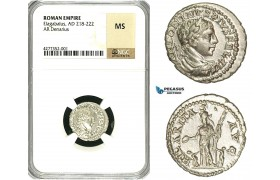 ZC99, Roman Empire, Elagabalus (218-222 AD), AR Denarius (3.07g) Antioch, 218-219 AD, Hilaritas, NGC MS