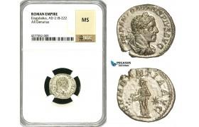 ZD07, Roman Empire, Elagabalus (218-222 AD), AR Denarius (3.04g) Rome, 218-222 AD, Abundantia, NGC MS