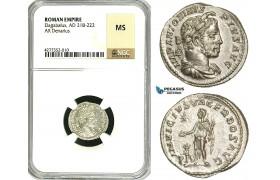 ZD08, Roman Empire, Elagabalus (218-222 AD), AR Denarius (3.07g) Rome, 218-222 AD, Altar, NGC MS