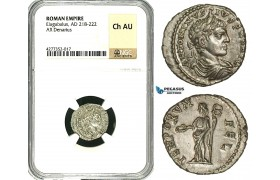 ZD15, Roman Empire, Elagabalus (218-222 AD), AR Denarius (2.78g) Antioch, 218-222 AD, Felicitas, NGC Ch AU
